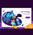 cryptocurrency mining exchange web banner vector image vector image