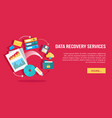 data recovery services set of concept flat icons vector image