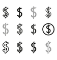 Dollars sign icon set dollar logo template vector image vector image