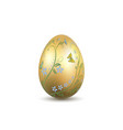 easter egg 3d icon gold shine egg isolated white vector image vector image