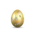 easter egg 3d icon gold shine egg isolated white vector image