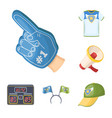 fan and attributes cartoon icons in set collection vector image