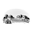 farm with trees and tractor harvesting hay vector image