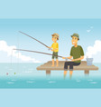 father and son fishing - cartoon people characters vector image vector image
