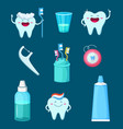 funny characters cartoon teeth vector image