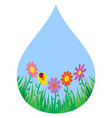 grass and flowers in a drop vector image