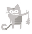 gray cat had just caught a mouse vector image vector image