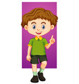 happy boy pointing finger up vector image vector image
