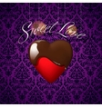 Heart with melted chocolate on floral ornament vector image