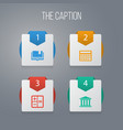icon learning set of book calculator museum and vector image vector image