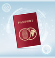 identification document with fingerprint vector image vector image
