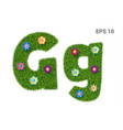 letter gg with a texture of grass and flowers vector image vector image