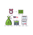 money bag with document and set icons vector image vector image