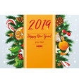 new year background with sweets and fir vector image vector image