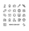 news sign thin line icon set vector image