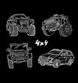 off road hand drawn cars vector image