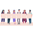 people holding blank white banner vector image vector image