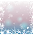 pink-blue background with snowflakes copyspace vector image