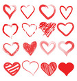 red heart hand drawn icon cute cartoon doodle lo vector image