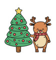 reindeer with tree balls decoration merry vector image