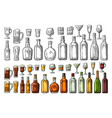set glass and bottle beer whiskey wine gin rum vector image vector image