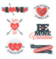 set st valentines day and typography el vector image vector image