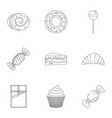 sweet desserts icon set outline style vector image vector image