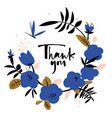 thank you card in wreath blue abstract flowers vector image vector image