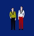 two young men stand next to each other vector image