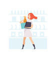 young woman with shopping bags girl shopping at vector image vector image