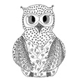 Hand drawn owl in zentangle style vector image