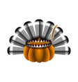 pumpkin with turkey featers vector image