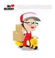Smile delivery man on scooter motorcycle and vector image