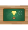 trophy gold with icon symbol on front of green vector image