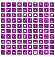 100 construction site icons set grunge purple vector image vector image