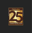 25 years anniversary golden design background vector image vector image