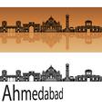Ahmedabad skyline in orange vector image vector image