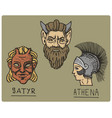 ancient greece antique symbols athena profile vector image vector image