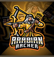 arabian archer esport mascot logo design vector image