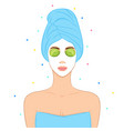 beautiful woman with facial mask home spa concept vector image vector image