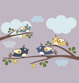 birds sitting on tree branches sunny day vector image