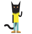 Black cat character vector image vector image