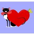 black cat valentine vector image vector image
