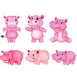 cartoon hippo collection set vector image vector image