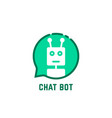 chat bot logo like green speech bubble vector image vector image
