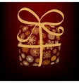 Christmas box made from golden snowflakes EPS8 vector image vector image