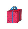 christmas present box sticker for new year vector image vector image