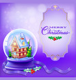 christmas snow globe with a house and trees vector image vector image