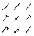 cold weapon icon set simple style vector image vector image