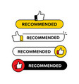 collection recommended banner with thumbs up vector image vector image